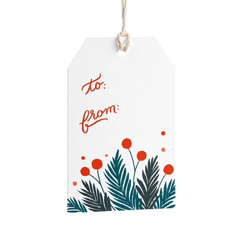 Pine and Berries Gift Tags - Set of 8