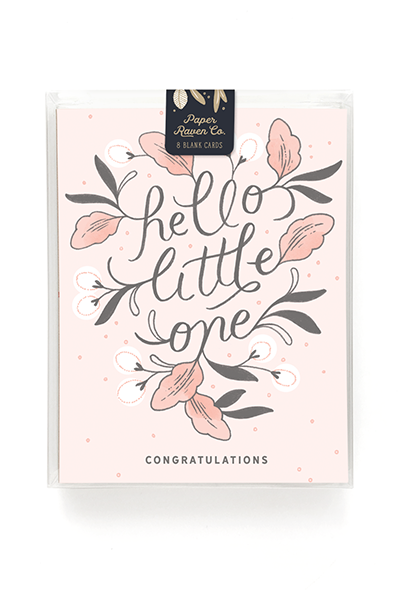 Hello Little One Card for Girl - Box Set of 8
