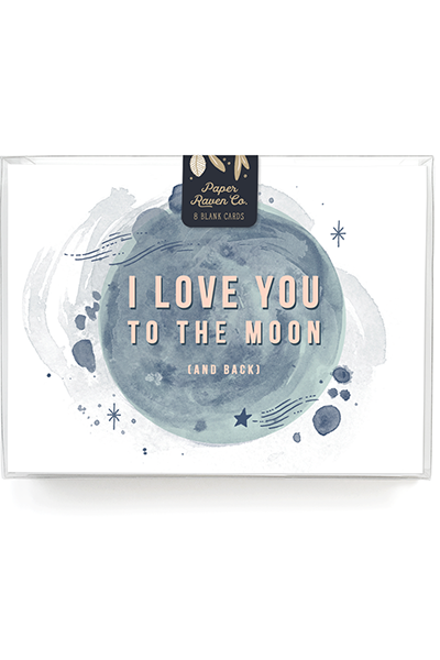 Love You to the Moon Card - Box Set of 8