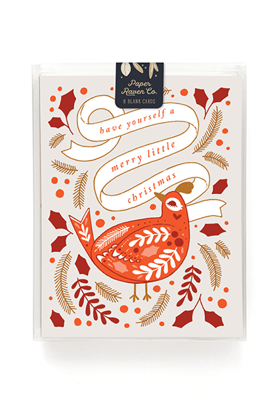Merry Bird Holiday Card - Box Set of 8
