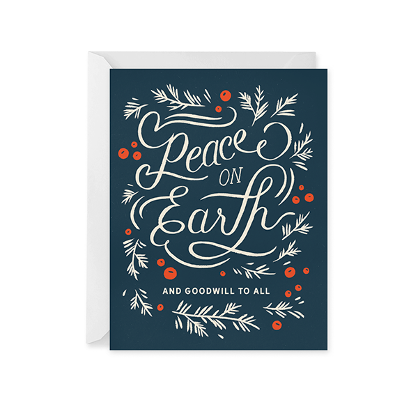Peace on Earth Calligraphy Holiday Card