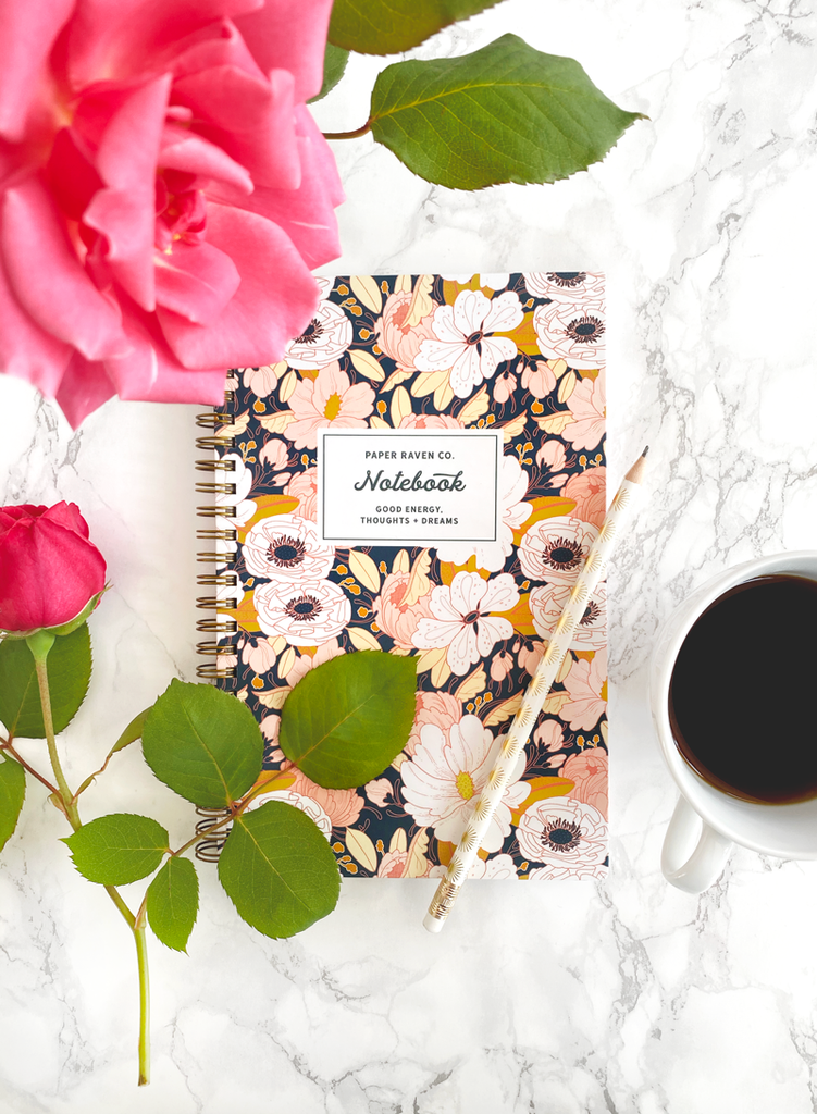 Night Floral Spiral Notebook