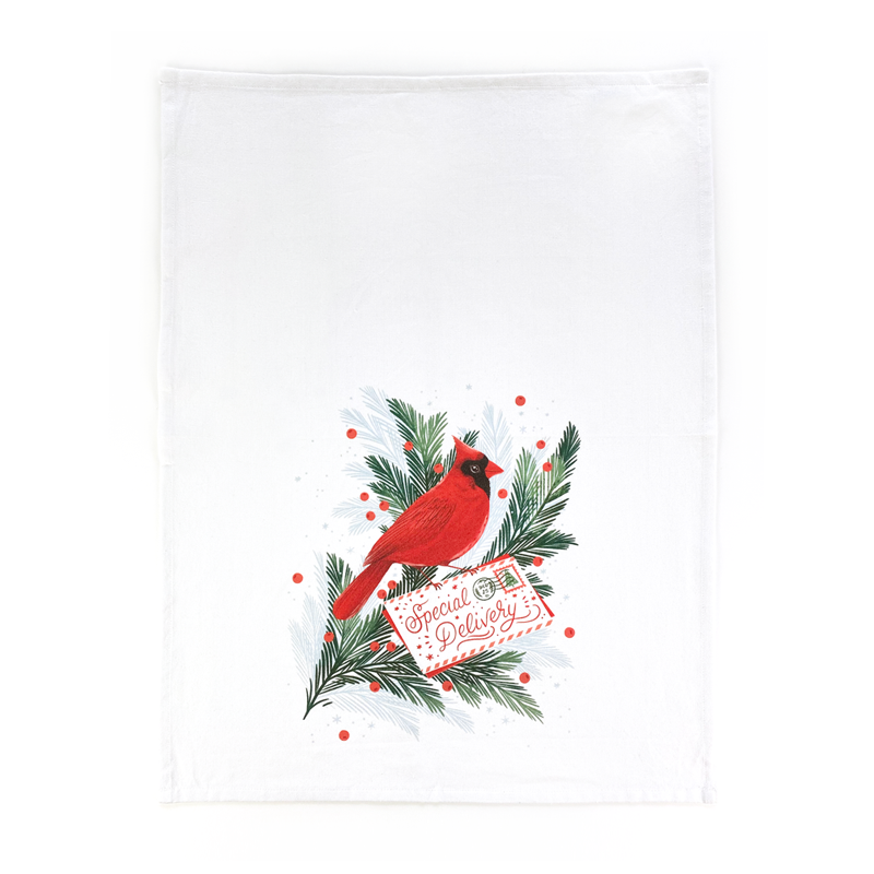 Cardinal Christmas Tea Towel