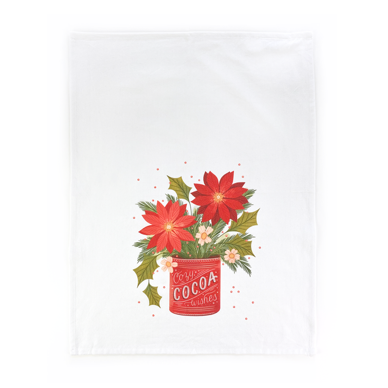 Poinsettia Wishes Tea Towel