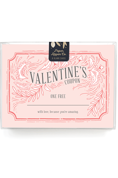 Customizable! Valentine Coupon Card - Box Set of 8