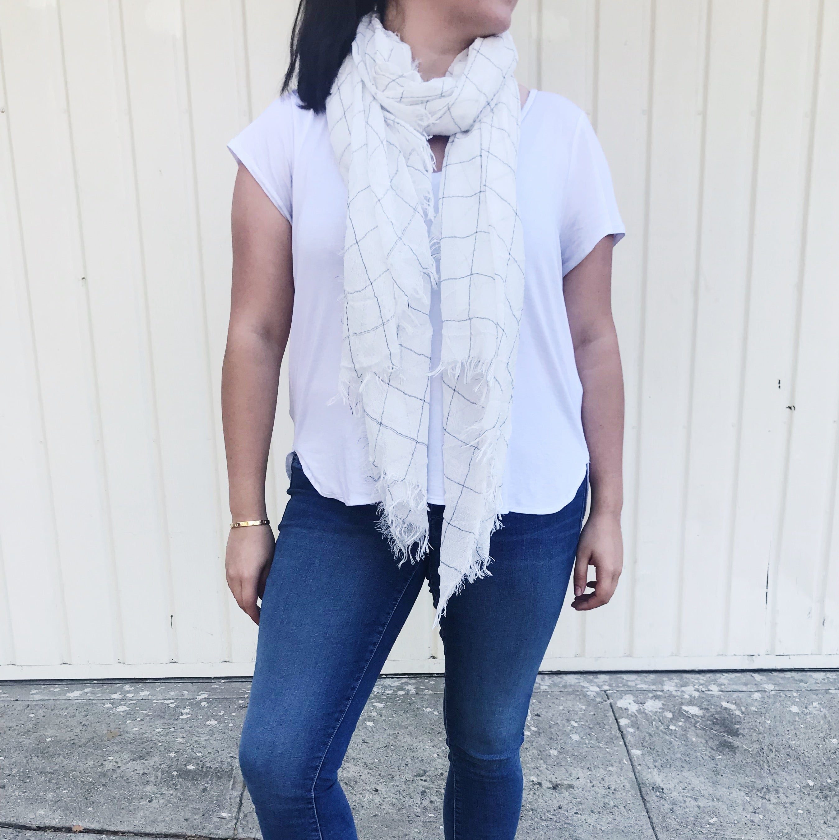 White Grid Light Woven Scarf