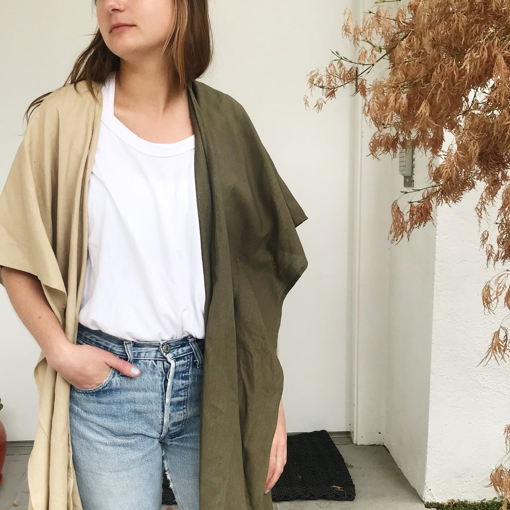 Hart Two Tone Shawl in Army/Sand