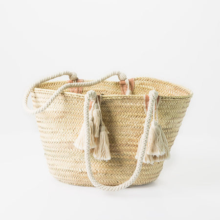 Straw Tote with Long Cotton Strap