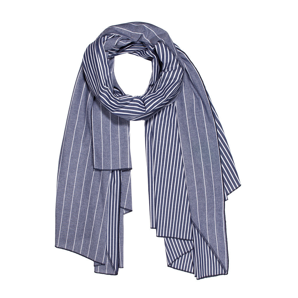 Diagonal Cut Scarf Blue Chambray Stripe/Navy Stripe