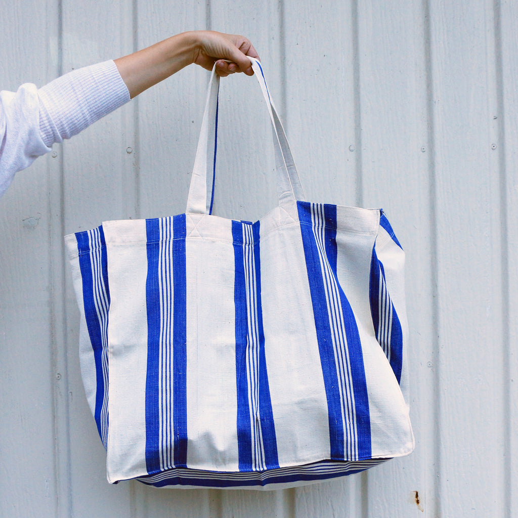 Cotton Tote White with Blue Stripes