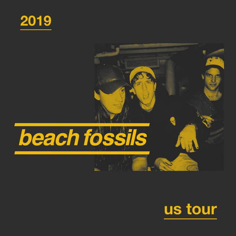 Photograph of Beach Fossils, text reads: 2019 US tour
