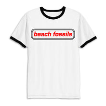 Load image into Gallery viewer, Beach Fossils Logo Ringer T (white w/ black accents)