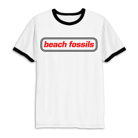 Beach Fossils Logo Ringer T (white w/ black accents)