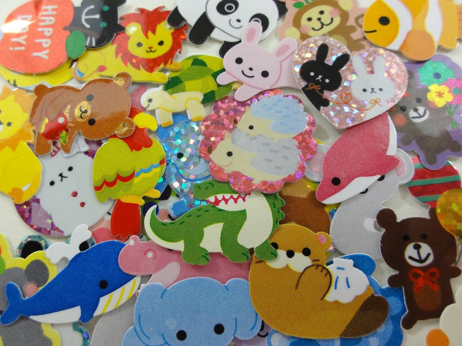 z Cute Kawaii Animals Zoo Safari theme Flake Sack Stickers - 40 pcs