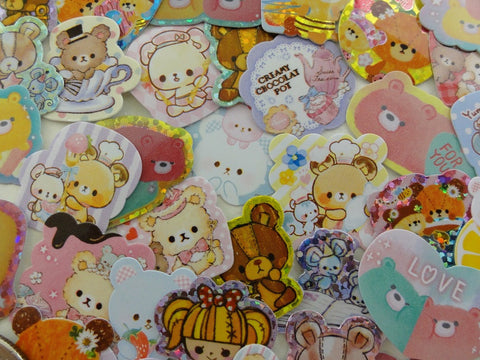 Cute Kawaii Bears theme Flake Sack Stickers - 42 pcs