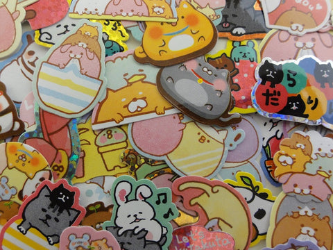 Cute Kawaii Stacked Sleepy Relax Animal Friends Flake Stickers - 47 pcs