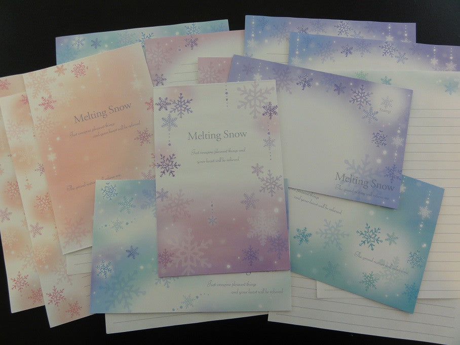 Cute Kawaii Kamio Winter Melting Snow Letter Sets - Stationery Writing Paper Envelope Penpal