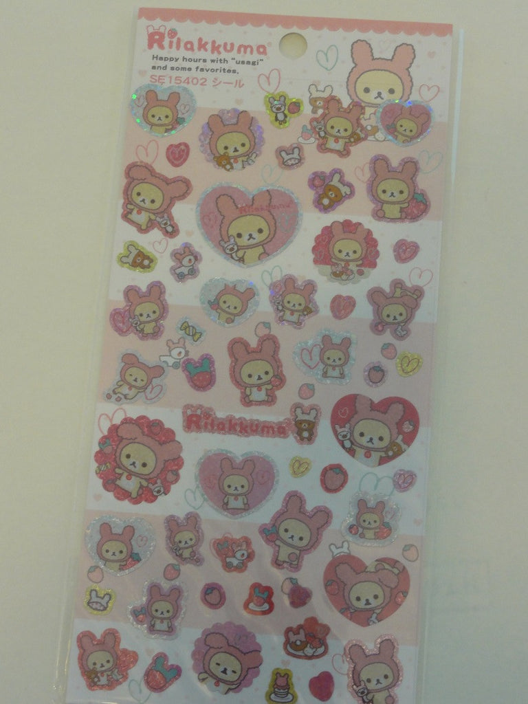 Cute Kawaii San-X Rilakkuma Bunny Glitter Sticker Sheet