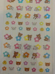 Cute Kawaii San-X Rilakkuma Glitter Flower Sticker Sheet