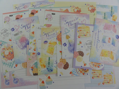 Cute Kawaii Waffle Milk Drinks Letter Writing Paper + Envelope Stationery Theme Set
