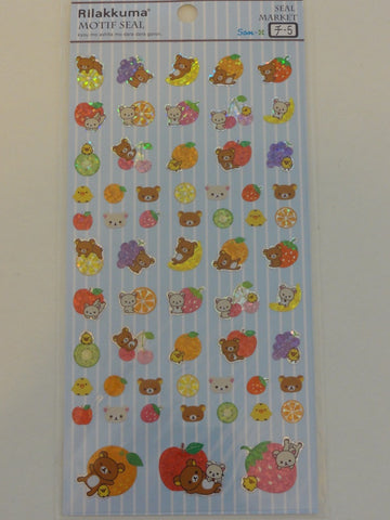 Cute Kawaii San-X Rilakkuma Fruits Sticker Sheet