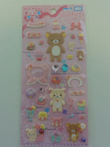 Cute Kawaii San-X Rilakkuma Sweets Puffy Sticker Sheet
