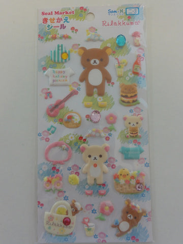 Cute Kawaii San-X Rilakkuma Picnic Puffy Sticker Sheet