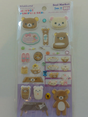 Cute Kawaii San-X Rilakkuma Home Sweet Home Puffy Sticker Sheet