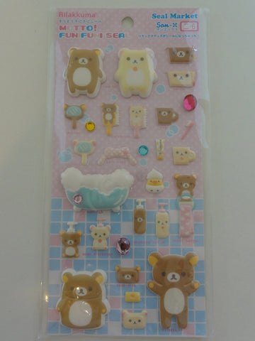 Cute Kawaii San-X Rilakkuma Bath Time Puffy Sticker Sheet