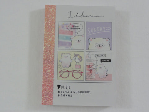 Cute Kawaii Crux Bear Sunday Bubble Tea Unicorn Mini Notepad / Memo Pad - Stationery Designer Paper Collection