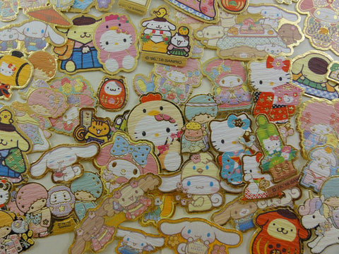 Cute Kawaii Sanrio Characters Hello Kitty My Melody Purin Little Twin Stars Cinnamoroll Flake Sack Stickers - 50 pcs - A