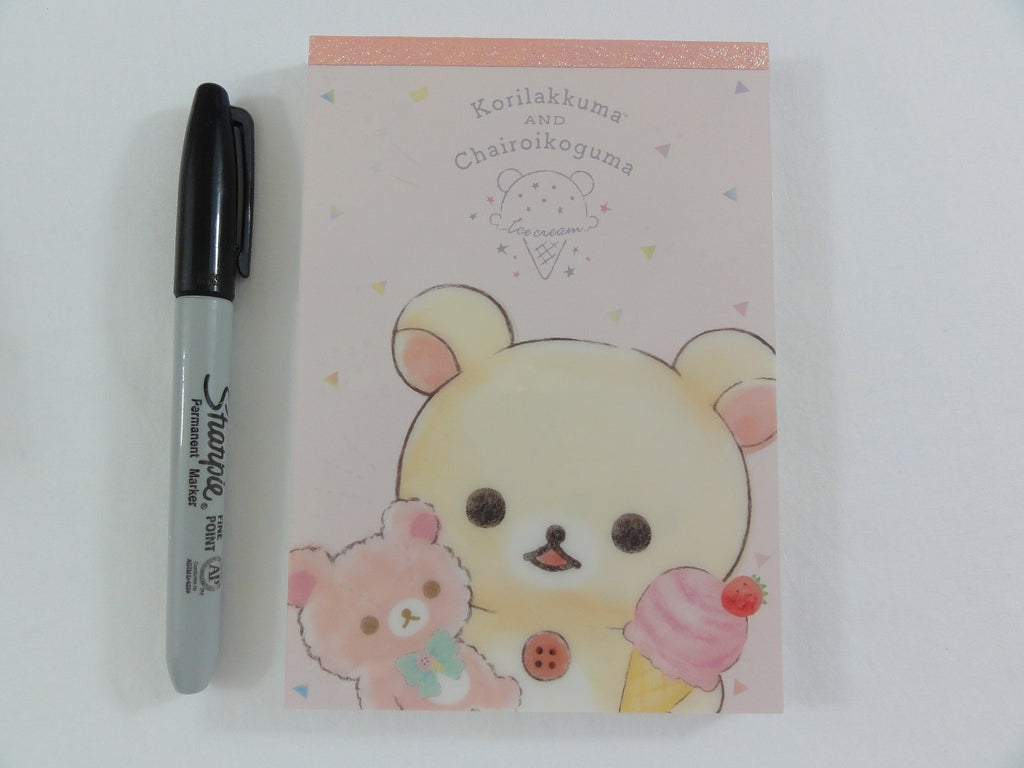 Cute Kawaii San-X Rilakkuma Bear Chairoikoguma Ice Cream 4 x 6 Inch Notepad / Memo Pad - Stationery Designer Paper Collection