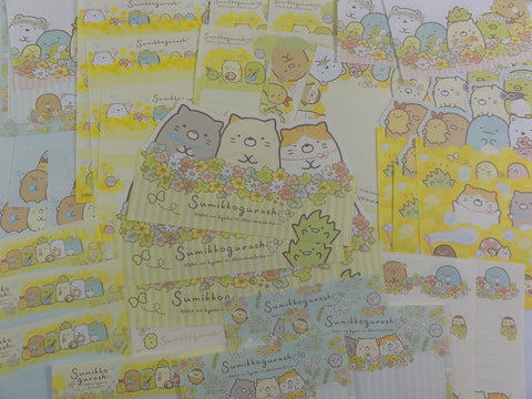 San-X Sumikko Gurashi 40 pc Memo Note Paper Set - Spring Flower Field - Stationery Writing