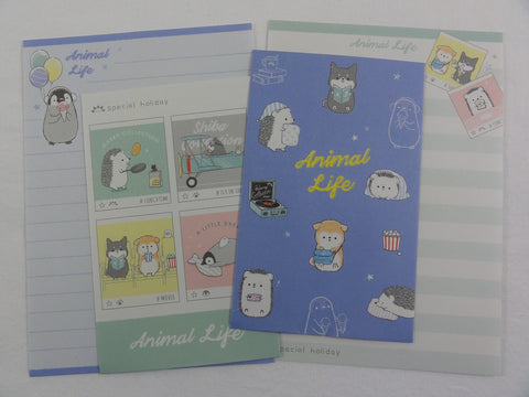 Cute Kawaii Kamio Hedgehog and Dog Mini Letter Sets - Small Writing Note Envelope Set Stationery