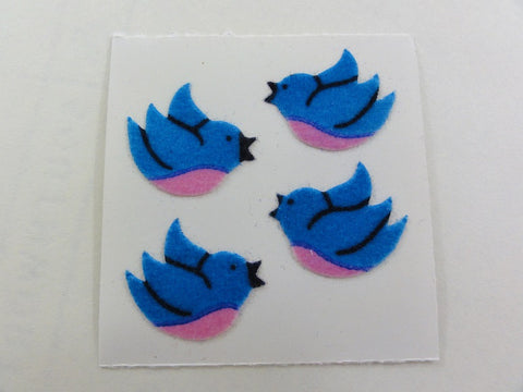 Sandylion Blue Bird Fuzzy Sticker Sheet / Module - Vintage & Collectible