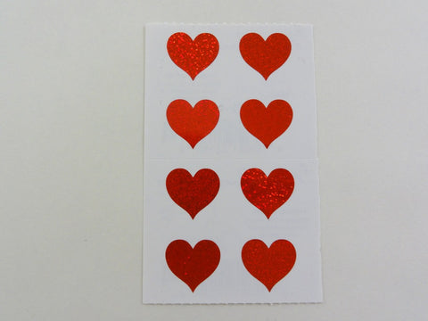 Mrs Grossman Hearts Red Small Sticker Sheet / Module - Vintage & Collectible