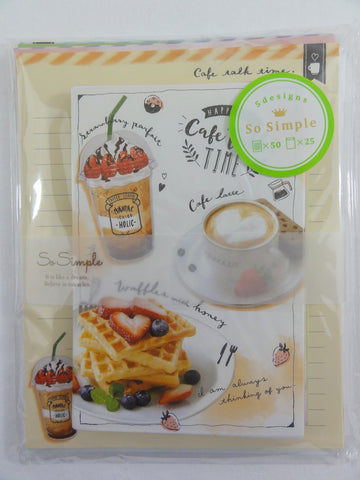 Cute Kawaii Crux Cafe Talk Time Letter Set Pack - Stationery Writing Paper Penpal Collectible