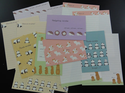 Cute Kawaii Kamio Panda Neko Cat Hedgehog Letter Sets