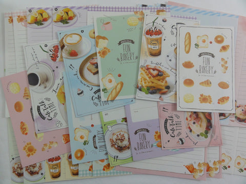 Cute Kawaii Bread Bakery n Cafe Time Letter Writing Paper + Envelope Stationery Theme Set
