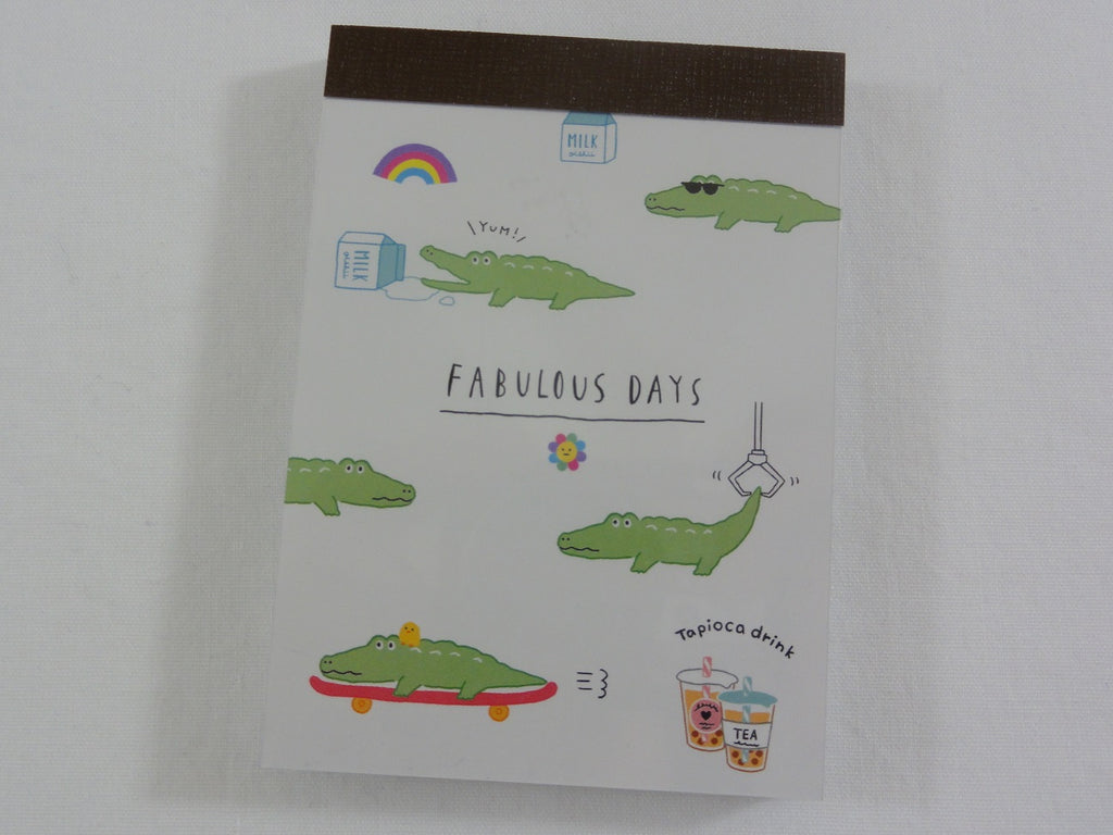 Cute Kawaii Crux Crocodile Fabulous Days Mini Notepad / Memo Pad - Stationery Designer Paper Collection