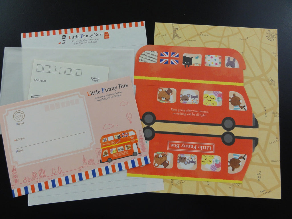 Cute Kawaii Crux Little Funny Bus Animals Letter Sets