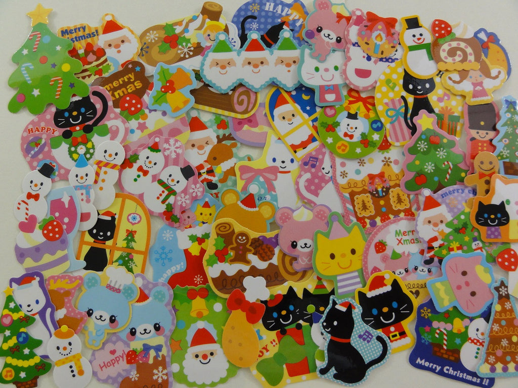 Christmas Winter Santa Ginger Bread Snowman Flake Stickers - 60 pcs