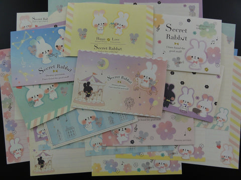 Cute Kawaii Secret Rabbit Letter Paper + Envelope Theme Set