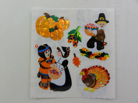 Sandylion Autumn Pumpkin Turkey Thanksgiving Glitter Sticker Sheet / Module - Vintage & Collectible