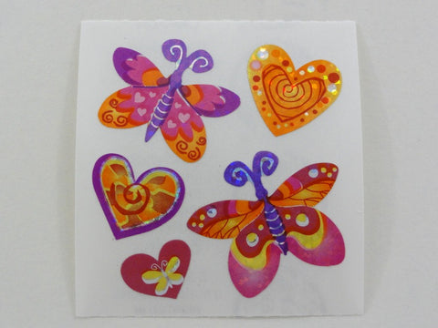 Sandylion Butterfly Hearts Valentine Glitter Sticker Sheet / Module - Vintage & Collectible