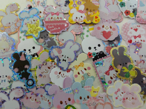 z Rabbit Bunny Flake Stickers - 40 pcs
