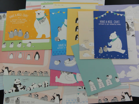 Cute Kawaii Penguin and Friends Letter Paper + Envelope Theme Set