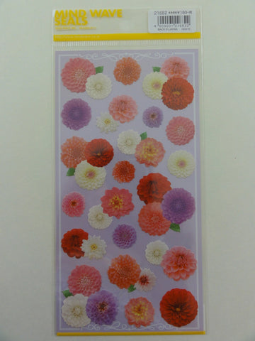 Cute Kawaii Mind Wave Pink Purple hue Flower Sticker Sheet