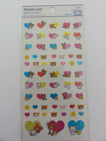 Cute Kawaii San-X Rilakkuma Hearts Sticker Sheet