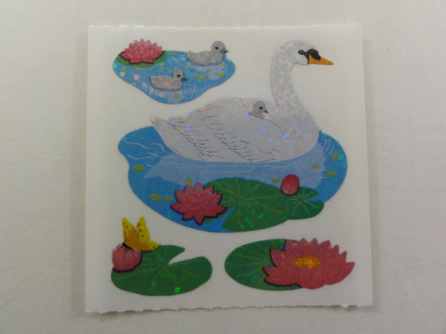 Sandylion Swan Glitter Sticker Sheet / Module - Vintage & Collectible